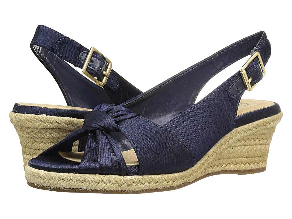 Pin Up Shoes- Heels, Pumps & Flats Bella-Vita Seraphina II Navy Silk Womens Shoes $79.95 AT vintagedancer.com