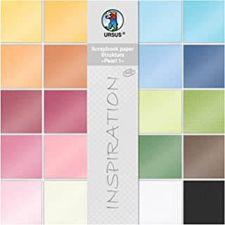 Ursus 81320099 Bloc de papier de scrapbooking Structura Pearl 1, env. 30,5 x 30,5 cm, 20 feuilles assorties en 20 couleurs