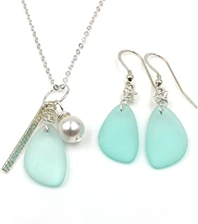 Gorgeous Gift Set, Sea Foam Green Sea Glass Earrings on Sterling Silver Hooks with Sea Glass, Swarovski Pearl, Silver Bar Charm Necklace on Sterling Silver Chain, by Aimee Tresor