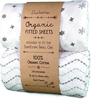Luvberries Sheets (Set of 2) for The BabyBjorn Travel Cribs, with Safety tab Slots - 100% Organic Cotton Crib Sheets, Baby and Toddler, Fitted Crib Sheets, for Boys & Girls