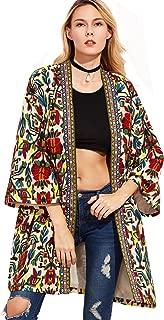 Women's Open Front Tribal Print Cardigan Thin Coat