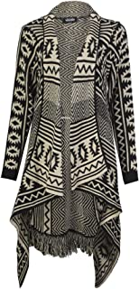 Womens Aztec Stripe Diamond Print Knitted Waterfall Cardigan