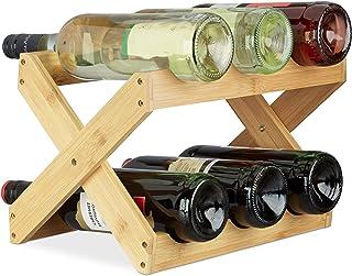Relaxdays Étagère à Vin Bambou, Forme X, 6 bouteilles, Rustique, Petit, Range-bouteilles pliant, HLP 22x36x20 cm, nature