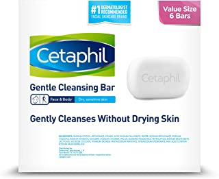 Cetaphil Gentle Cleansing Bar, Unscented, 4.5 Ounce Bar 6-Count