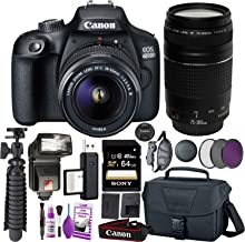 Canon EOS 4000D (Rebel T100) DSLR Camera International Model and EF-S 18-55 mm f/3.5-5.6 is III Lens + 75-300mm Telephoto Zoom Lens + 64GB Memory Card