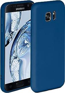 ONEFLOW Soft Case kompatibel mit Samsung Galaxy S7 Hülle aus Silikon, erhöhte Kante für Bildschirmschutz, zweilagig, weiche Handyhülle   matt Blau