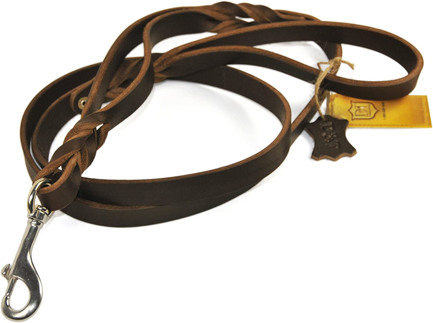 Dean and Tyler Braidy Bunch Dog Leash, Brown 91cm by 2cm Width With Dual Handle And Stainless Steel Snap Hook.