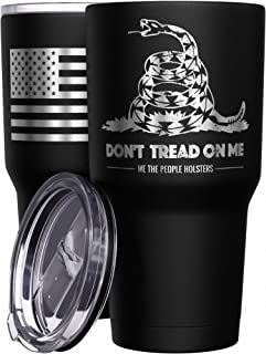 We The People Holsters - Don`t Tread On Me Coffee Mug - Stainless Steel Travel Mug with American Flag - 30 oz Insulated Tumbler - Gadsden Flag Army Tumbler - Military Accessories