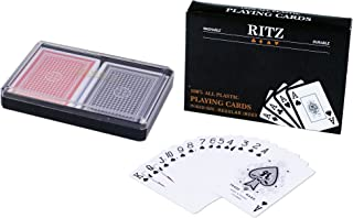 2 Decks Poker Size Ritz 100% Plastic Playing Cards Set in Plastic Case