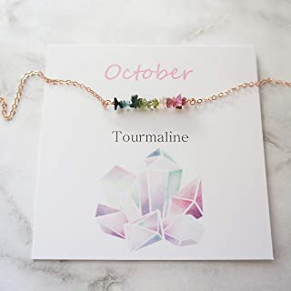 Tourmaline Necklace October Birthstone Necklace Natural Rough Multi Color Tourmaline Gems Gift for Best Friend Bohemian Layering Necklace