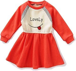 Keleying Little Girl Dress Long Sleeve Autumn New Orange Red Cartoon Fashion Casual 1-6 Years Old Girls Skirt