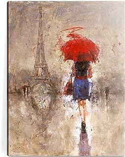red umbrella paris canvas