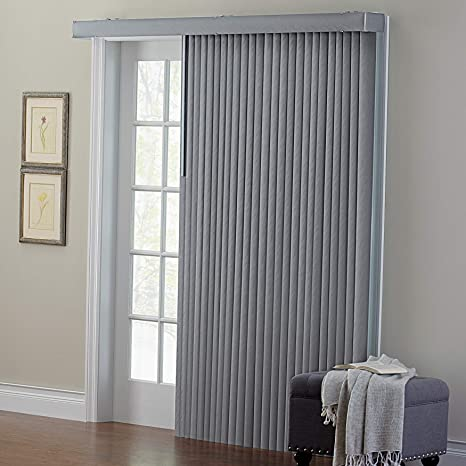 Complete Made To Measure Vertical Blind Aria Vapour Woven Patterned Grey