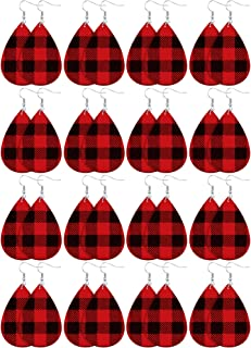 16 Pairs Christmas Plaid Dangle Earrings Faux Leather Dangle Earrings Long Plaid Earrings for Women Girls Favors
