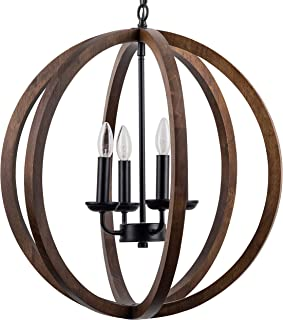 Terra 4 Light Globe Chandelier - Dark Walnut Wood - Linea di Liara LL-CH145-DW