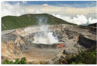 """NUOCHUANG Costa Rica Puzzle - 1000 Pieces Poas Volcano National Park of Costa Rica Puzzle for Adult, 30""""x20"""" Wooden Puzzl..."""
