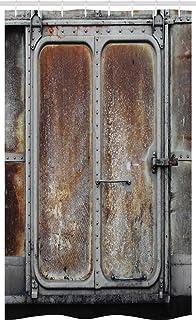 ABAKUHAUS Industrial Stall Shower Curtain, Vintage Railway Container Door Old Locomotive Transportation Iron Power Design,...