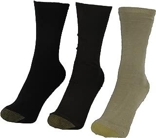 Gold Toe Premier Women's Castaway Reinforced Toe 3 Pair Socks Beige Brown Black