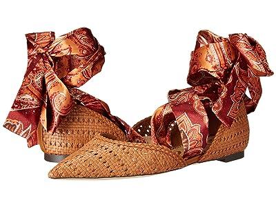 Sam Edelman Sloane (Saddle/Orange Multi Basket Weave Leather/Floral Paisley Scarf Dr) Women