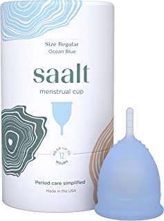 Saalt Menstrual Cup - Premium Design - Most Comfortable Period Cup - #1 Active Cup - Wear for 12 Hours - Soft, Flexible, R...