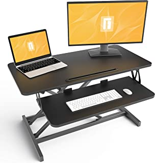 Standing Desk with Height Adjustable – FEZIBO 32 inches Stand Up Black Desk Converter, Ergonomic Tabletop Workstation Rise...