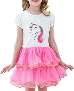 Sunny Fashion Girls Dress Pink Tutu Dancing Tiered Skirt Ballet Party Size 3-7 Years