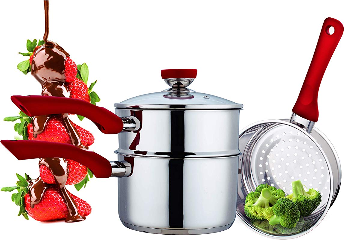 Culinary Edge Stainless Steel Nonstick 4 Piece Double Boiler Set Saucepan And Steamer