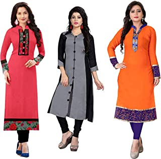 RAMDEV Women's Cotton Straight Kurta (Pack of 3) (Combo Kurti for Girl1_Multi_Free Size)