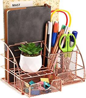 Yarlung Rose Gold Desk Organizer with Sliding Drawer, Metal Mesh Pencil Holder Multifunctional Office Supplies Collection ...