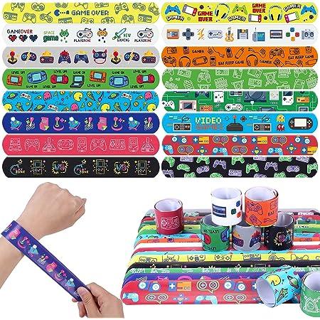 Latocos 48 Piezas Videojuegos Pulseras de Bofetada Slap Banda Bracelet de Videojuegos Patrones de Tema Videojuegos Pulsera Bofetada Fiesta Regalo para Niños y Niñas ( 16 Estilos)
