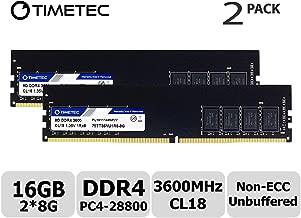 Timetec Hynix IC 16GB Kit (2x8GB) DDR4 3600MHz PC4-28800 Unbuffered Non-ECC 1.2V CL18 288 Pin UDIMM Desktop Memory RAM Module Upgrade (16GB Kit (2x8GB))