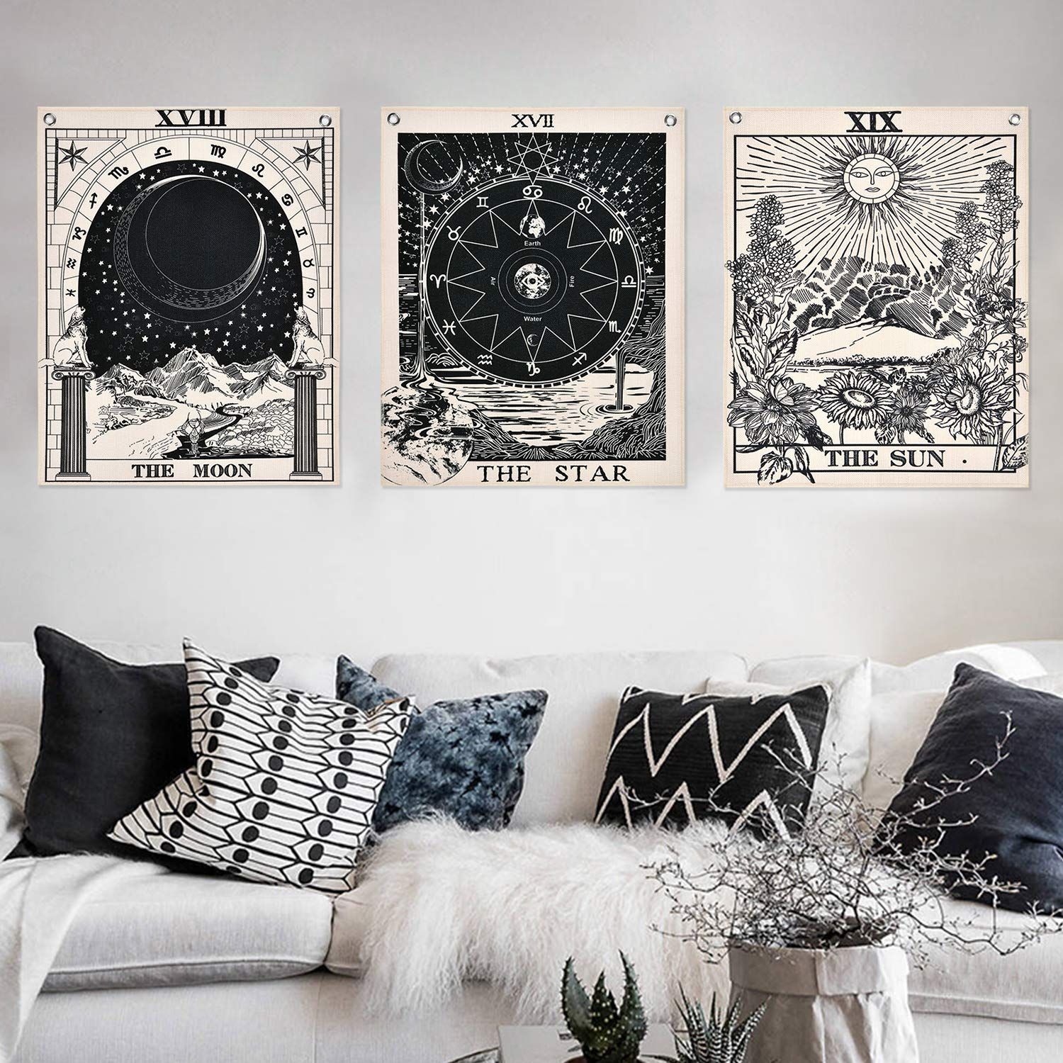 Star Sun and Moon Tarot Card Tapestries Bohemian Room Decoration #C Color,16 x 20 in 3Pcs Tarot Tapestry Wall Hanging Decor