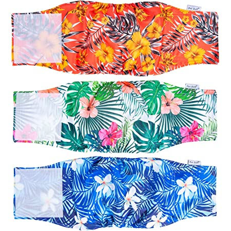 Pet Soft Washable Belly Bands (Pack of 3) - 2021 Latest Summer Washable Male Dog Diapers, Comfort Reusable Male Dog Belly Wraps Diapers for Doggy