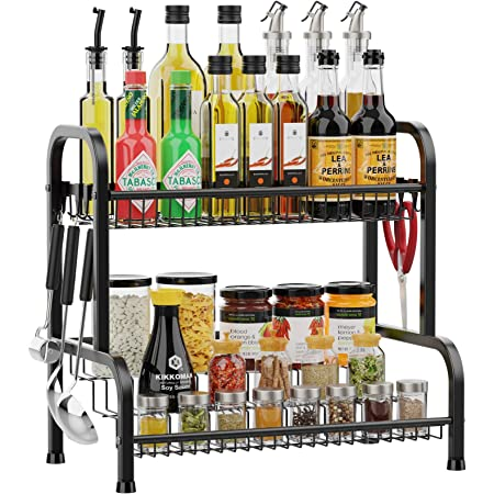 Spice Rack, iSPECLE 2 Tier Kitchen Spice Organizer with Step Shelf Bottom Large Capacity Countertop Organizer with 8 Hooks for Bathroom Kitchen Cabinet