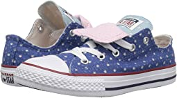 Converse Kids Chuck Taylor® All Star® Double Tongue Star Perf Canvas Ox (Little Kid/Big Kid)