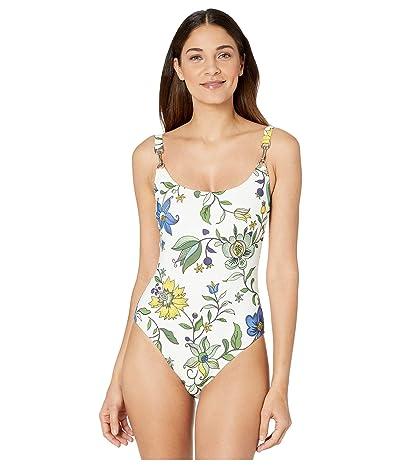Tory Burch Swimwear Printed Clip Tank One-Piece (New Ivory Love Floral) Women