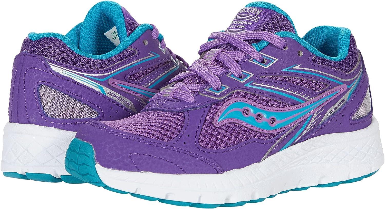 Saucony Cohesion 14 LACE to Toe Running Shoe, Purple/Turq, 7 US Unisex Big Kid
