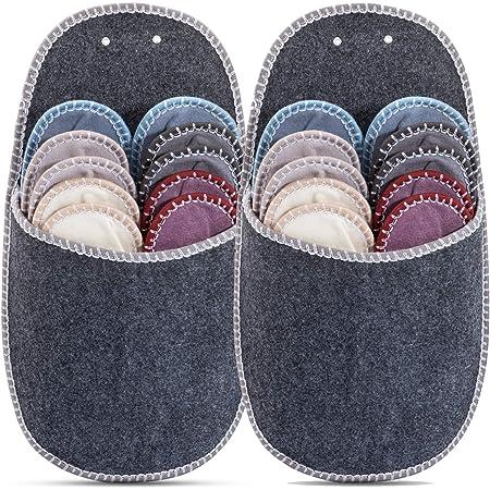 ONVAYA - Set da 2 di pantofole per ospiti, in feltro, 11 pezzi, colore grigio