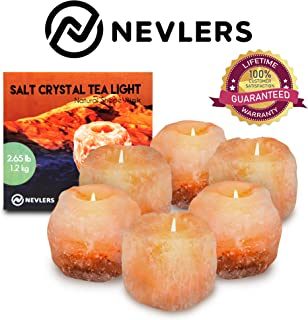 nevlers Natural Handcrafted Himalayan Salt Tealight Candle Holders - 6 Pack - Great Enhancement to Your Home Decor