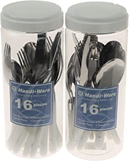 Handi-Ware Bistro Style Cutlery - Flatware Set - Bulk 24 & 48 Pack - Fun Colors - Picnic & Party Cutlery - Tumble Finish -Great For Events & Daily Use -Stainless Steel by Unity (White, 24)