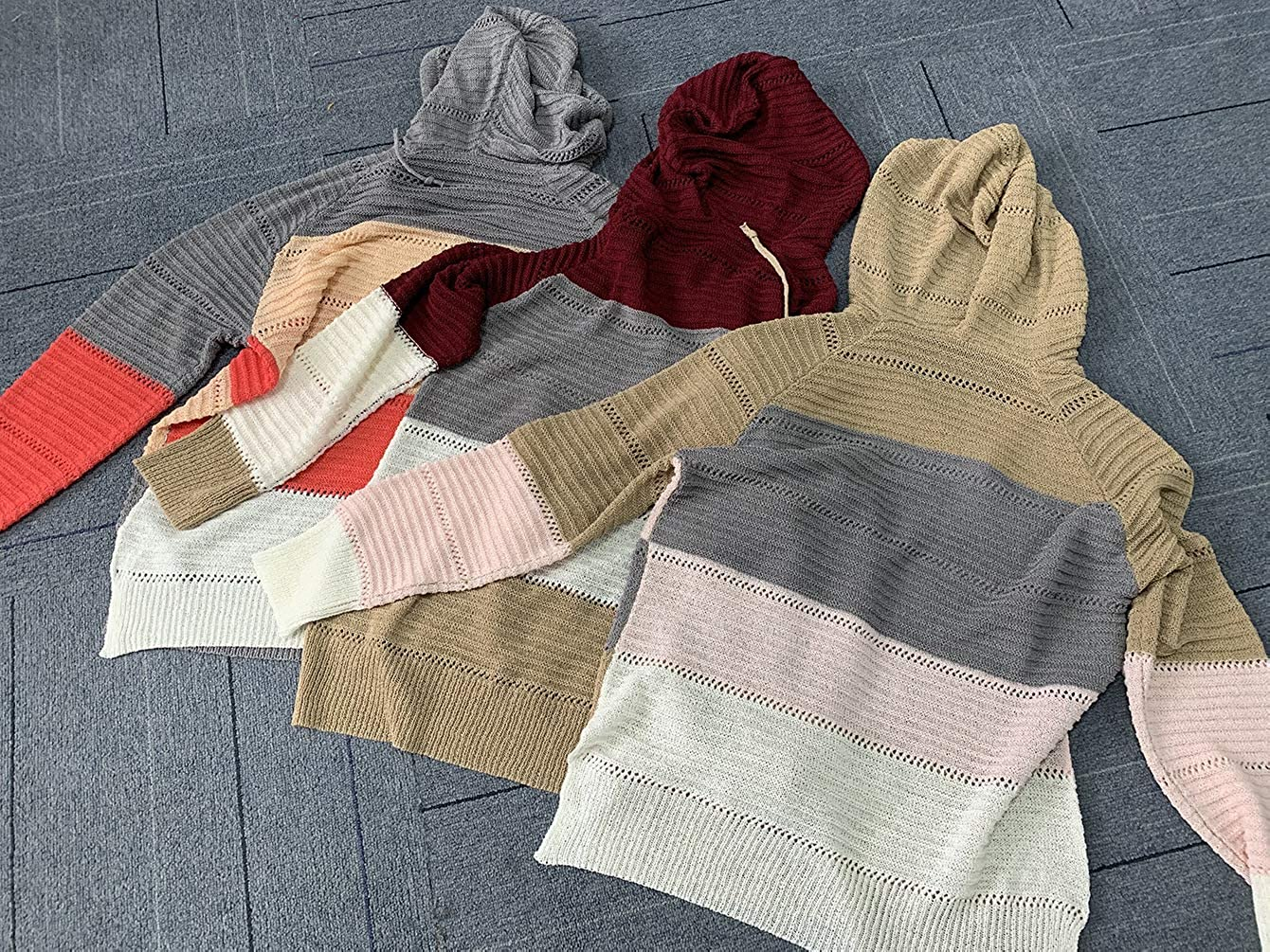ECOWISH Womens Sweater Striped Knit Color Block V Neck Hoodies Long Sleeve Hollow Out Pullover Casual Sweatshirts Tops