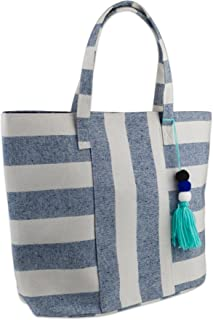 "DII Beach Bag, Boho Stripe Blue, 16x20x7"""