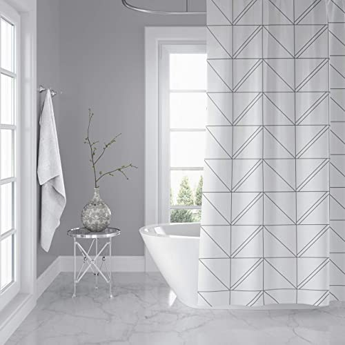 Horizon Home Essentials Modern Luxury Geometric Shower Curtain For Bathroom 72 X Inch