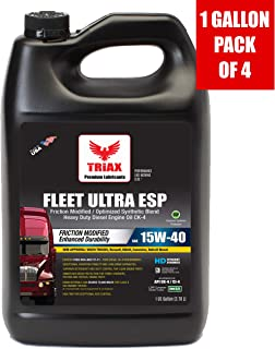 Triax API CK-4 Licensed Fleet Ultra ESP 15W-40 Synthetic Blend - Moly & Boron Performance Boosted, Heavy Duty Diesel Engine Oil - OEM Approval: Volvo, Mack, Cummins, DD (1 Gallon (Pack of 4))