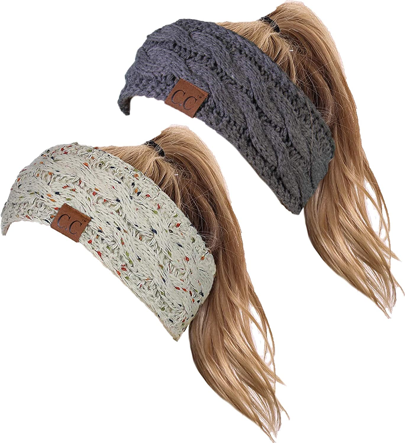 HW-6033-2-67-20a70 Headwrap Bundle - Oatmeal & Solid Charcoal (2 Pack)