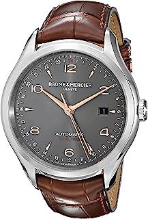 Baume & Mercier - Baume and Mercier Clifton Reloj de hombre de cuero de cocodrilo marrón con esfera gris