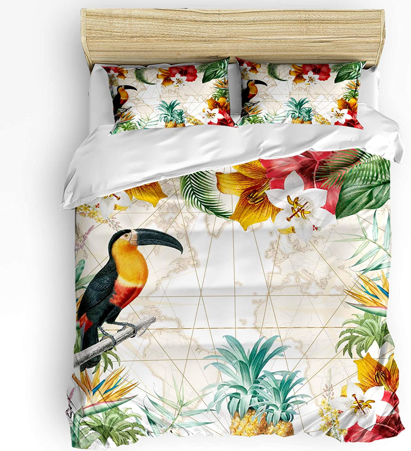 Sale price 3 Pieces Manufacturer direct delivery Breathable Bedding Set Bird Hibiscus Tropical Flowers