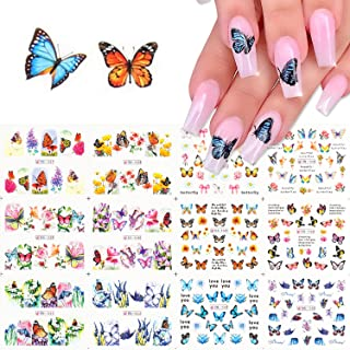12 Pieces/Set of Summer Butterfly Nail Art Stickers, Water Transfer Full Coverage Nail Decals, 12 Designs, Creative Nail D...
