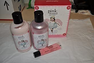 Philosophy Pink Frosted Angel Wings 3 Piece Set: Shimmery Body Lotion, Flavored Lip Shin, Shampoo/Gel/Bubble Bath Boxed