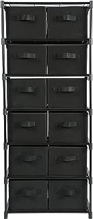 MULSH Drawer Storage Chest Shelf Storage Cabinet Organizer Units with Removable Non-Woven Fabric Bins (12-Drawer, Black)